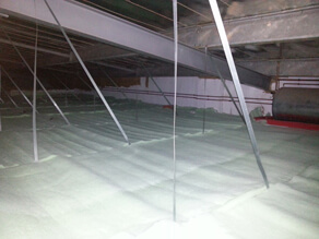 Insulation in a suspended ceiling