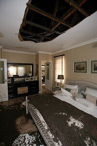 Cellulose fiber Ceiling Collapse after Geyser Leak